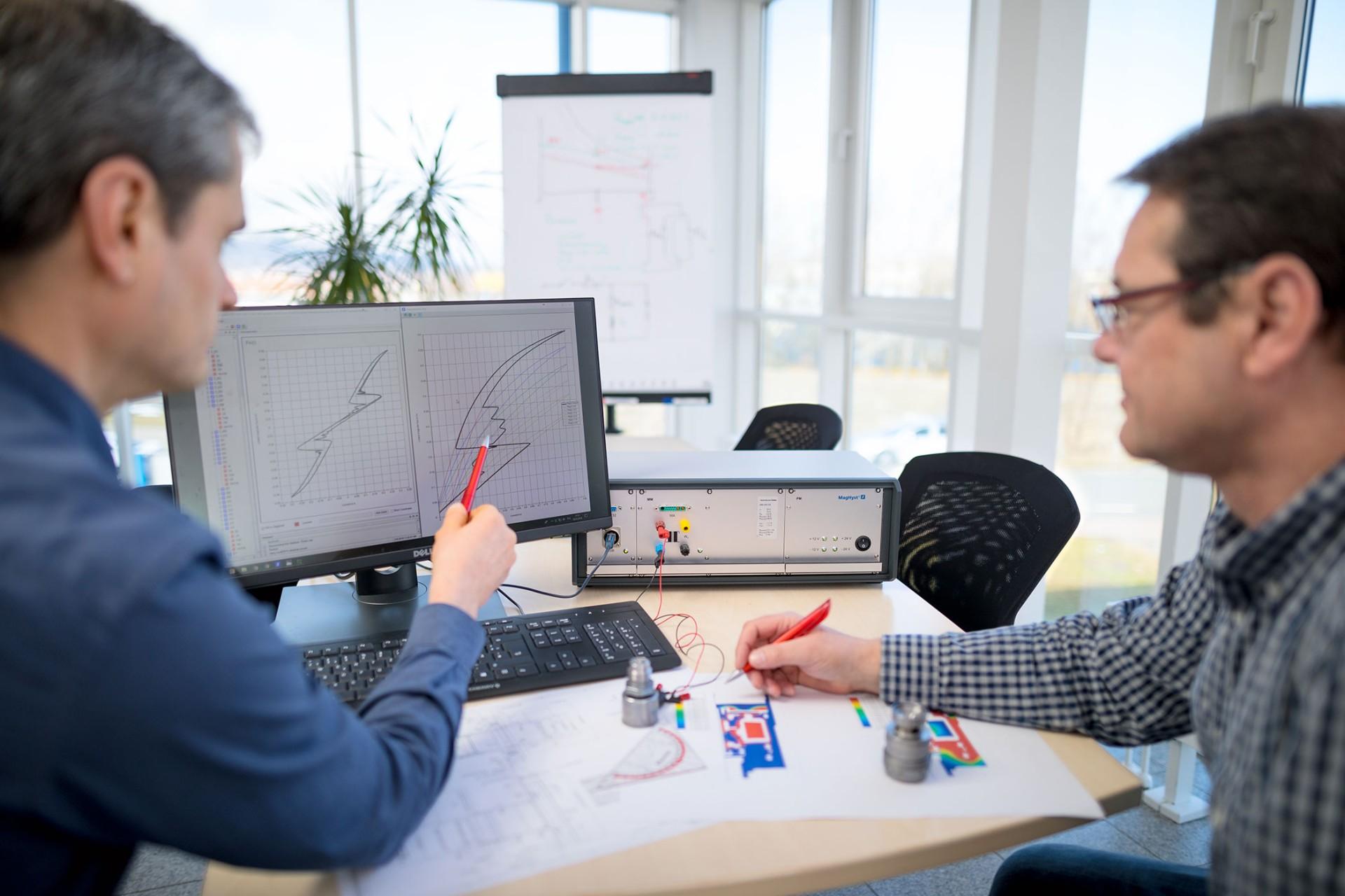 Zwei Entwicklungsingenieure analysieren Psi-I Kennlinien, welche mit dem Messgerät MagHyst® modular gemessen wurden.